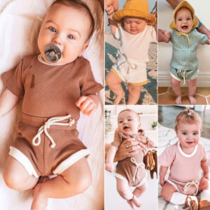 Baby Breathable Solid Top and Shorts Set with Drawstring
