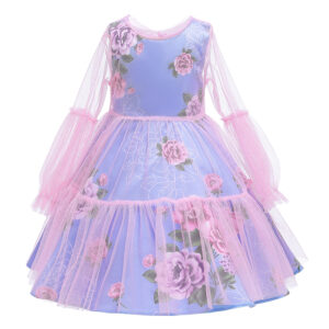 Toddler Girl Pretty Floral Print Tulle Party Dress