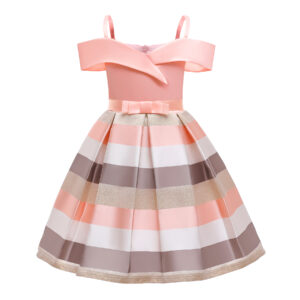 Toddler Girl Pretty Colorblock Striped Party Dress