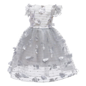 Toddler Girl Stylish 3D Floral Decor Lace Tulle Party Dress