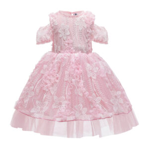 Toddler Girl Elegant Floral Decor Lace Tulle Party Dress