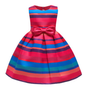 Toddler Girl Pretty Colorful Striped Sleeveless Party Dress