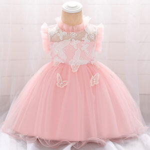Baby Elegant Butterfly Embroidered Mesh Party Dress