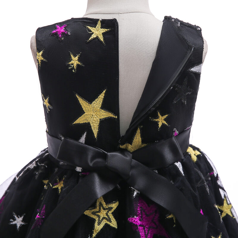 Toddler Girl Stars Embroidery Bowknot Decor Sleeveless Party Dress