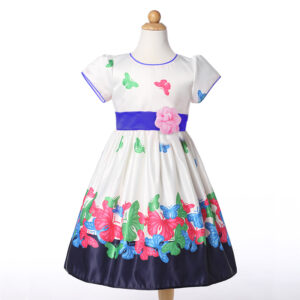 Toddler Girl Butterfly Floral Print Short-sleeve Party Dress