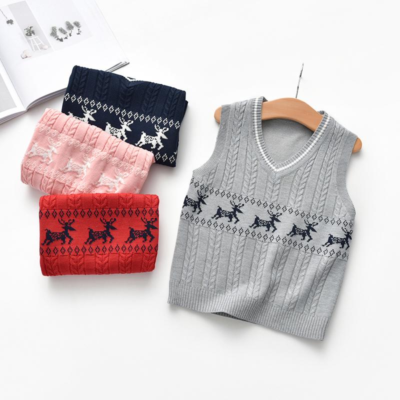 Toddler / Baby Elk Print Sleeveless Knitwear