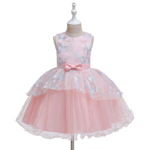 Baby / Toddler Girl Floral Grenadine Bowknot Sleeveless Party Dress