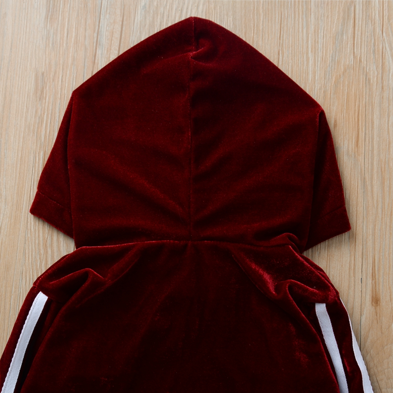 2-piece Baby / Toddler Striped Rabbit Ear Hoodie and Velvet Pants Set