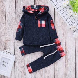Baby Boy Trendy Plaid Long-sleeve Hoodie and Pants Set