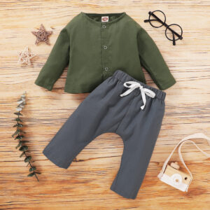 Baby Boy Solid Long-sleeve Top and Pants Set