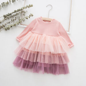 Baby / Toddler Girl Grenadine Ruffled Splice Long-sleeve Dress