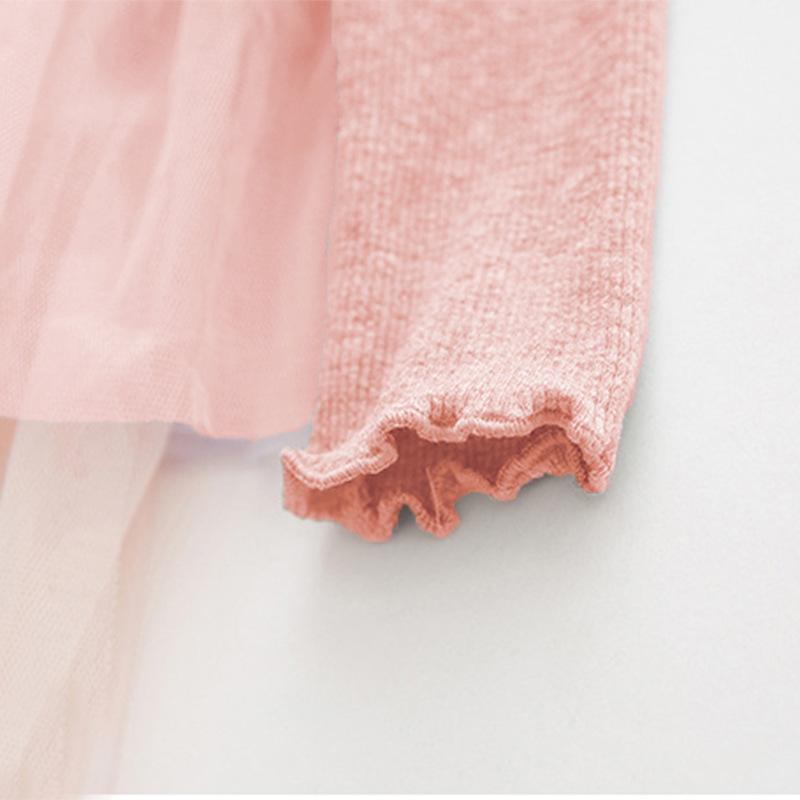 Baby / Toddler Girl Grenadine Ruffled Splice Long-sleeve Dress