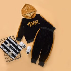 2-piece Baby / Toddler Letter Print Velvet Hoodie and Striped Pants Set