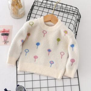 Baby / Toddler Girl Balloon Print Velvet Sweater