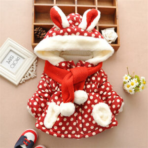 Baby / Toddler Girl Ear Decor Fleece Dots Long-sleeve Hooded Cotton Coat