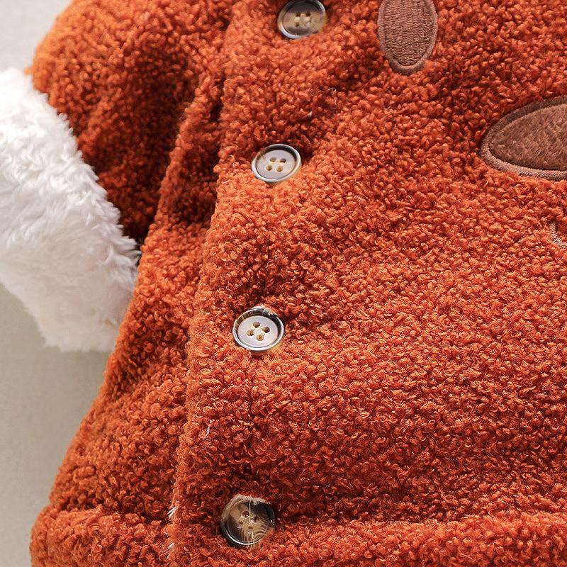 Baby / Toddler Cartoon Bear Fluff Long-sleeve Hooded Coat