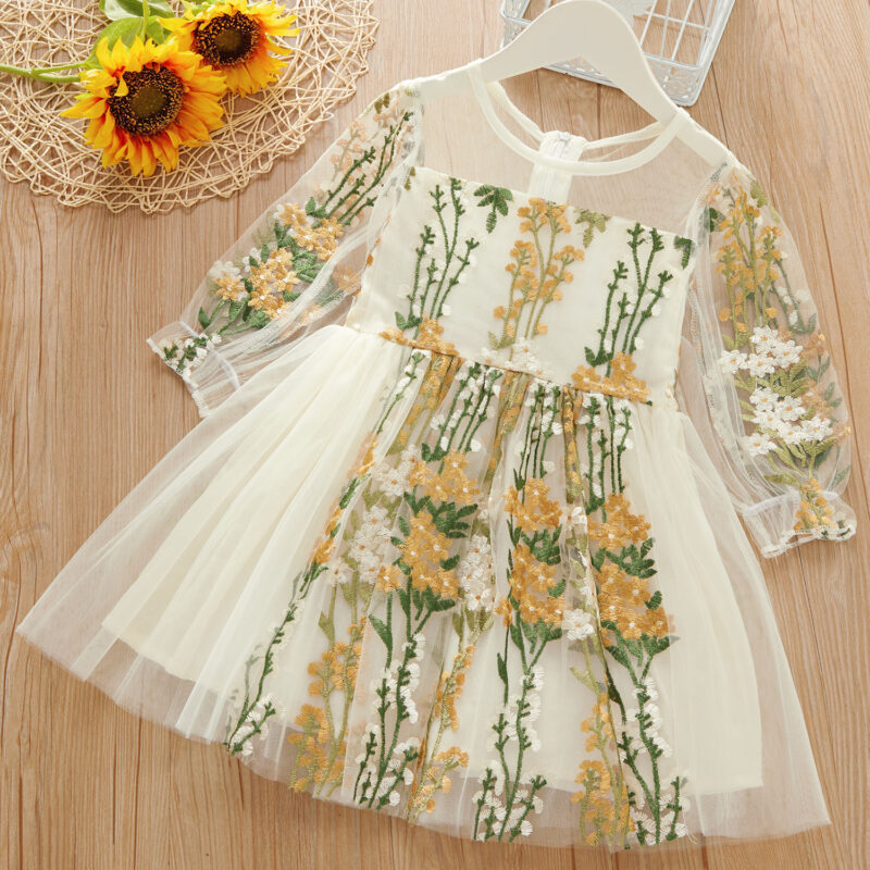 Baby / Toddler Girl Floral Embroidered Grenadine Ruffle Long-sleeve Dress