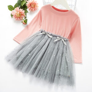 Baby / Toddler Girl Ruffled Grenadine Stars Glittery Bowknot Long-sleeve Splice Dress