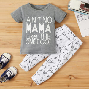 Baby Trendy Letter Top and Geo Pants Set