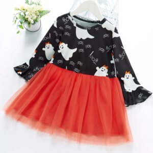Baby / Toddler Girl Halloween Grenadine Ruffle-sleeve Dress
