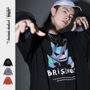 Young hiphop reflective printed long sleeve shirts (smile ghost)