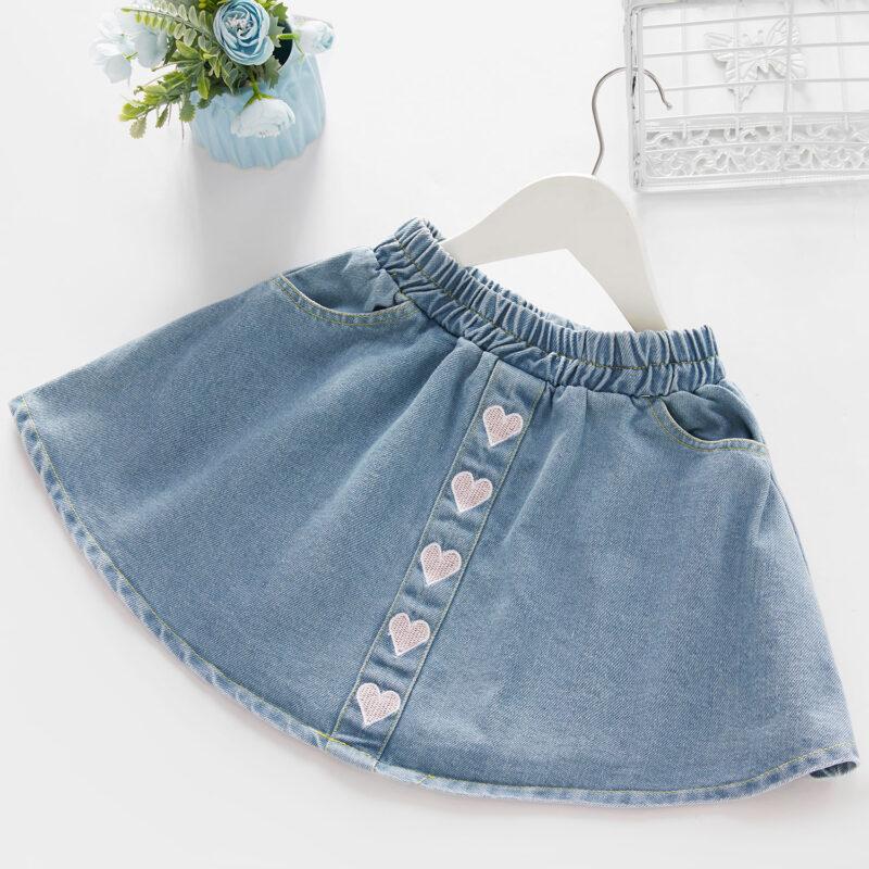 Baby / Toddler Girl Embroidered Heart Print Denim Skirt