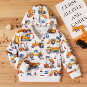 Baby / Toddler Boy Car Print Hooded Long-sleeve Pullover