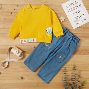 2-piece Baby / Toddler Boy Robot Letter Print Pullover and Jeans Set