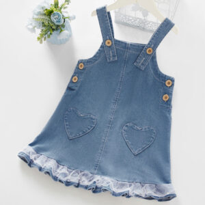 Baby / Toddler Girl Heart Lace Ruffled Denim Strap Dress