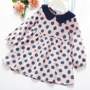 Baby / Toddler Girl Polka dots Doll Collar Long-sleeve Dress