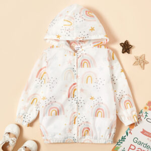 Toddler Boy Rainbow Allover Hooded Jacket