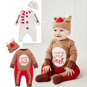 Baby Boy Girls Christmas Cartoon Jumpsuit Bodysuit