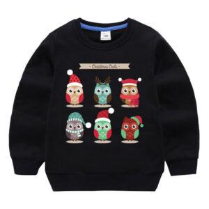 Baby Boy Clothes Christmas Cartoon Owl Printed Long Sleeve Tops
