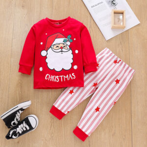 Christmas 2Pcs Outfit Set Baby Girls Boys Cartoon Santa Elk