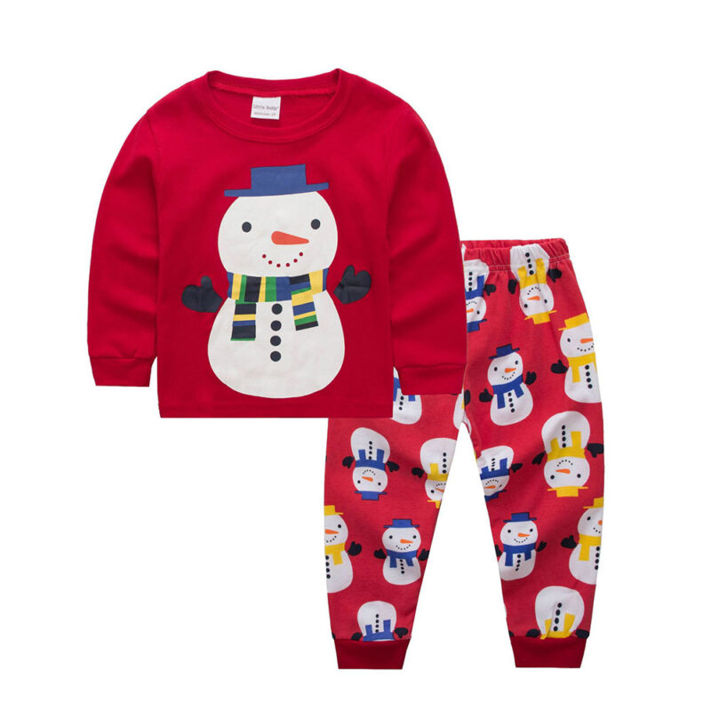 Christmas 2Pcs Outfit Set Baby Girls Boys Pajamas (snowman)