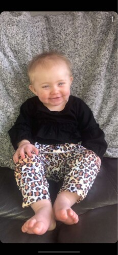 3-piece Baby Girl Solid Ruffled Long-sleeve Top and Leopard Print Pants with Headband Set photo review