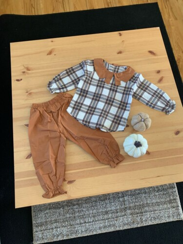 2-piece Baby / Toddler Girl Plaid Ruffled Doll Collar Top and Solid Ruffle Pants Set photo review
