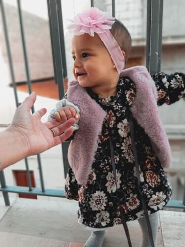 2 Pcs Plush Lined Floral Dress and Faux Fur Vest Set photo review