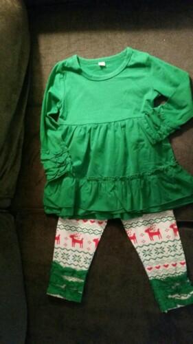 Baby / Toddler Girl Flounced Dress and Deer Printed Pants Set photo review