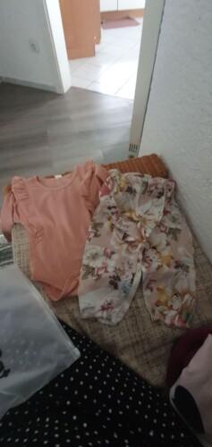 Flounced Bodysuit and Floral Print Pants Set photo review