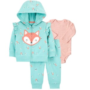 Infant Baby Cotton Long Sleeve Jumpsuit 3 pieces Fox Style