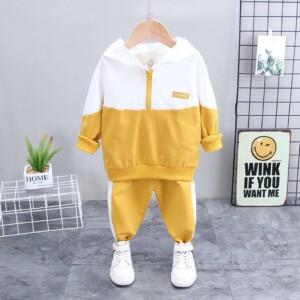 Autumn and winter Baby Toddler Kid boys' long-sleeved hooded sports suit two-piece suit (spliced letter mark)