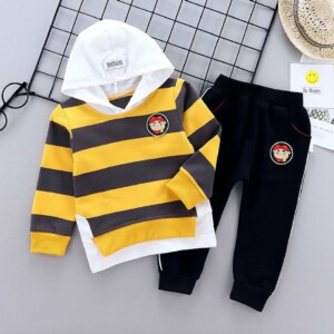 Spring and Autumn Baby Toddler Kid Boys Long Sleeve Hooded T-shirt Black Sports Pants Two-Piece Set (Cartoon Pig Pattern