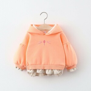 Autumn winter Baby girl's composite hooded top sweater (cat style)