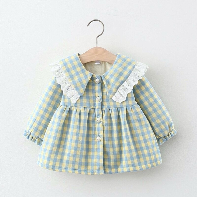 Autumn and winter Baby Toddler Kid girls padded dress (solid color plaid)