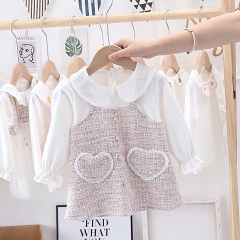 Autumn and winter Baby Toddler Kid girl long-sleeved dress (sweet style heart-shaped pockets)
