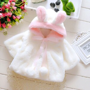 Baby Toddler girls long-sleeve hooded sweater  (Imitation Rabbit style)