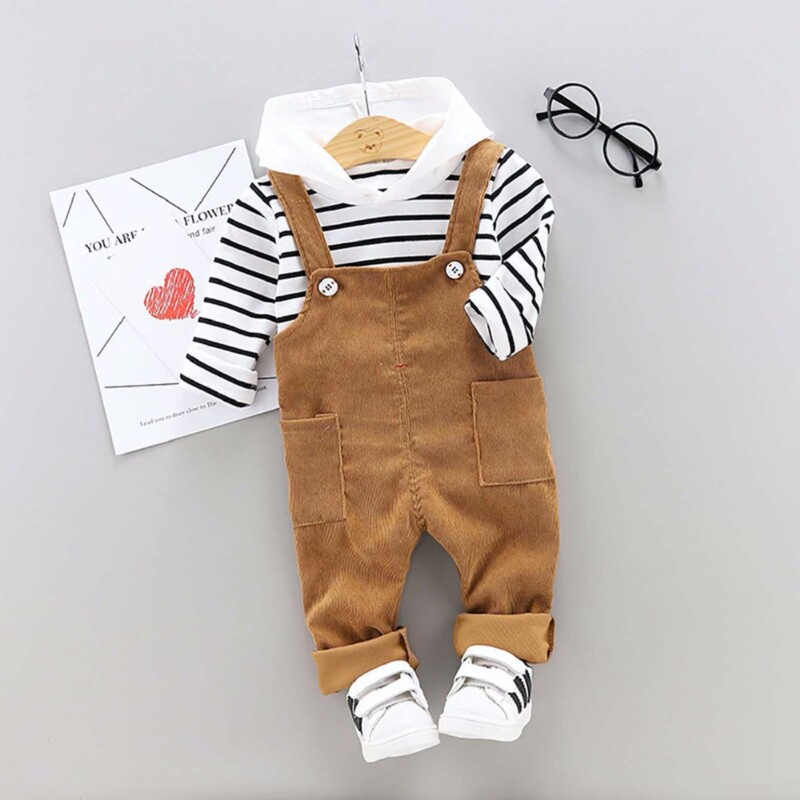 Baby Toddler boys and girls long-sleeve overalls two-piece suit (striped solid color)
