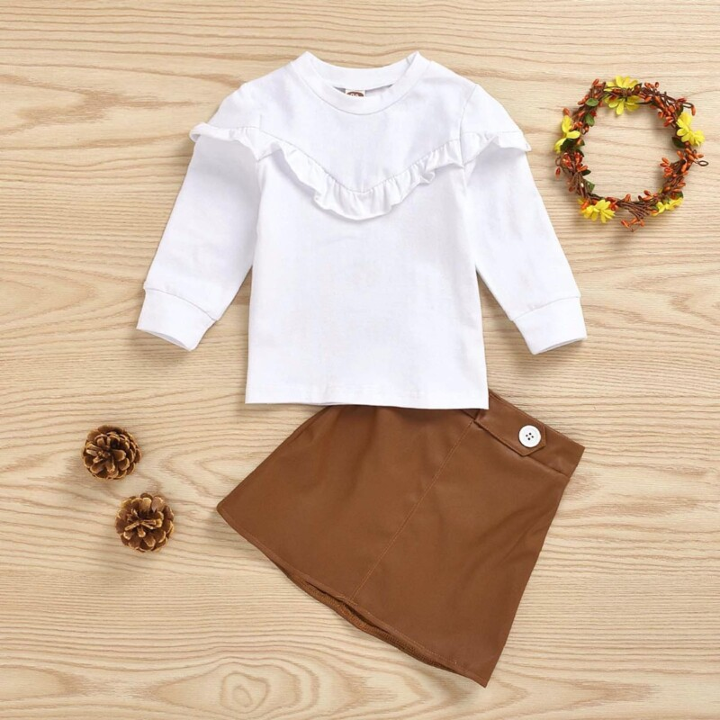 Baby Toddler girls skirt two-piece (solid color)