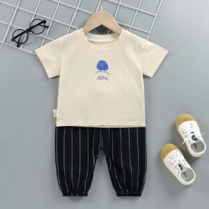 Baby Toddler boy short-sleeve T-shirt striped shorts two-piece suit (cartoon pattern solid color)